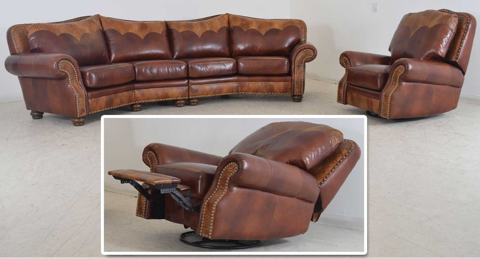 Milano Swivel Glider Recliner Texas Home The Leather Sofa Company