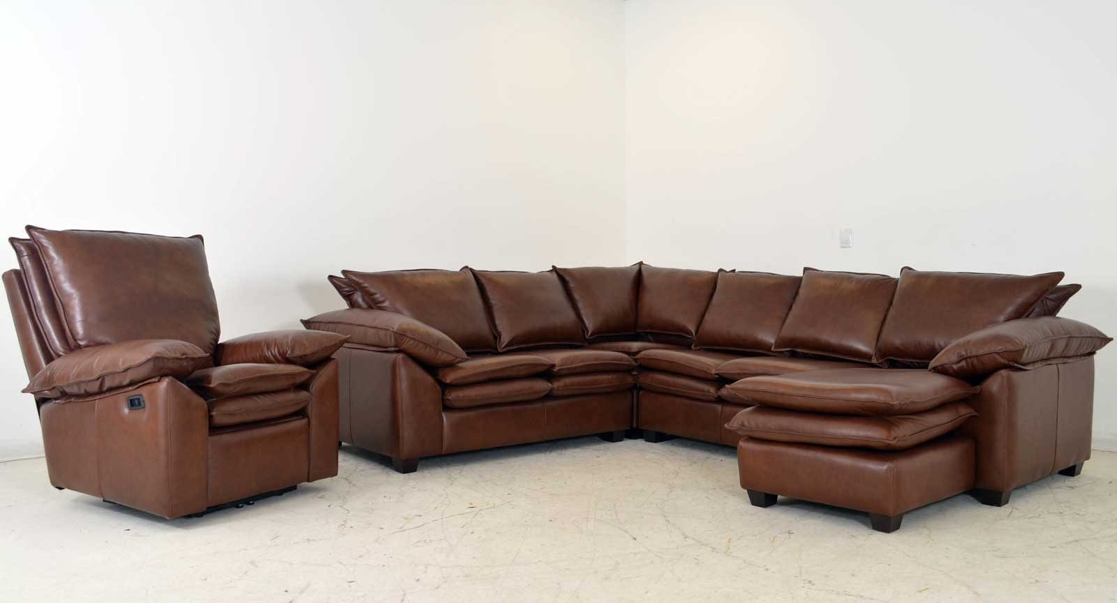 armless leather sofa
