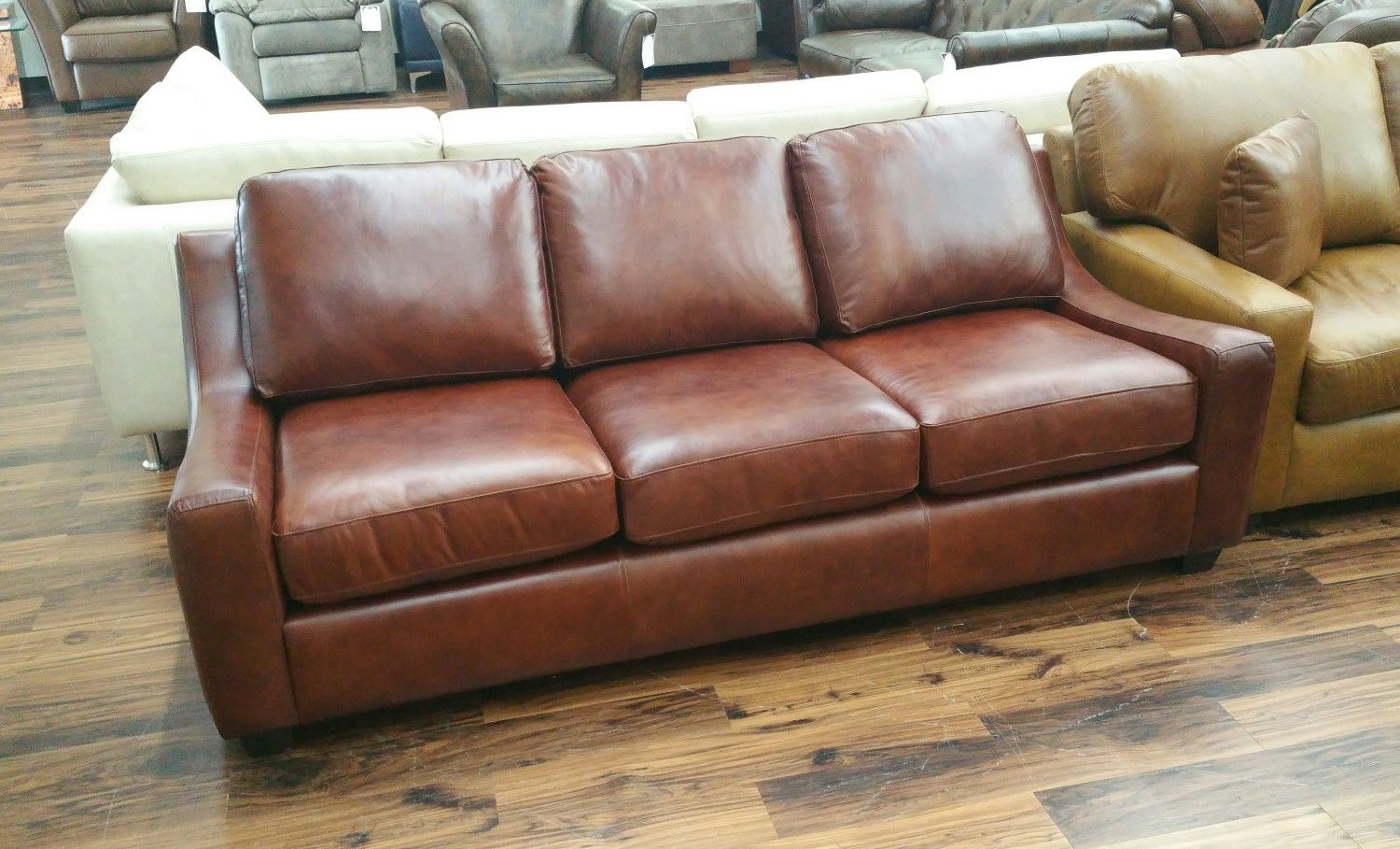 Outlet Tiffany Sofa Armani Red Brown The Leather Sofa Company