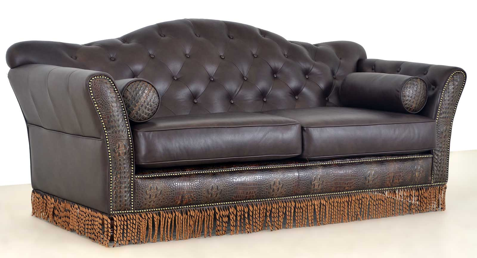 Sofa Fringe Embossed Leather Angle