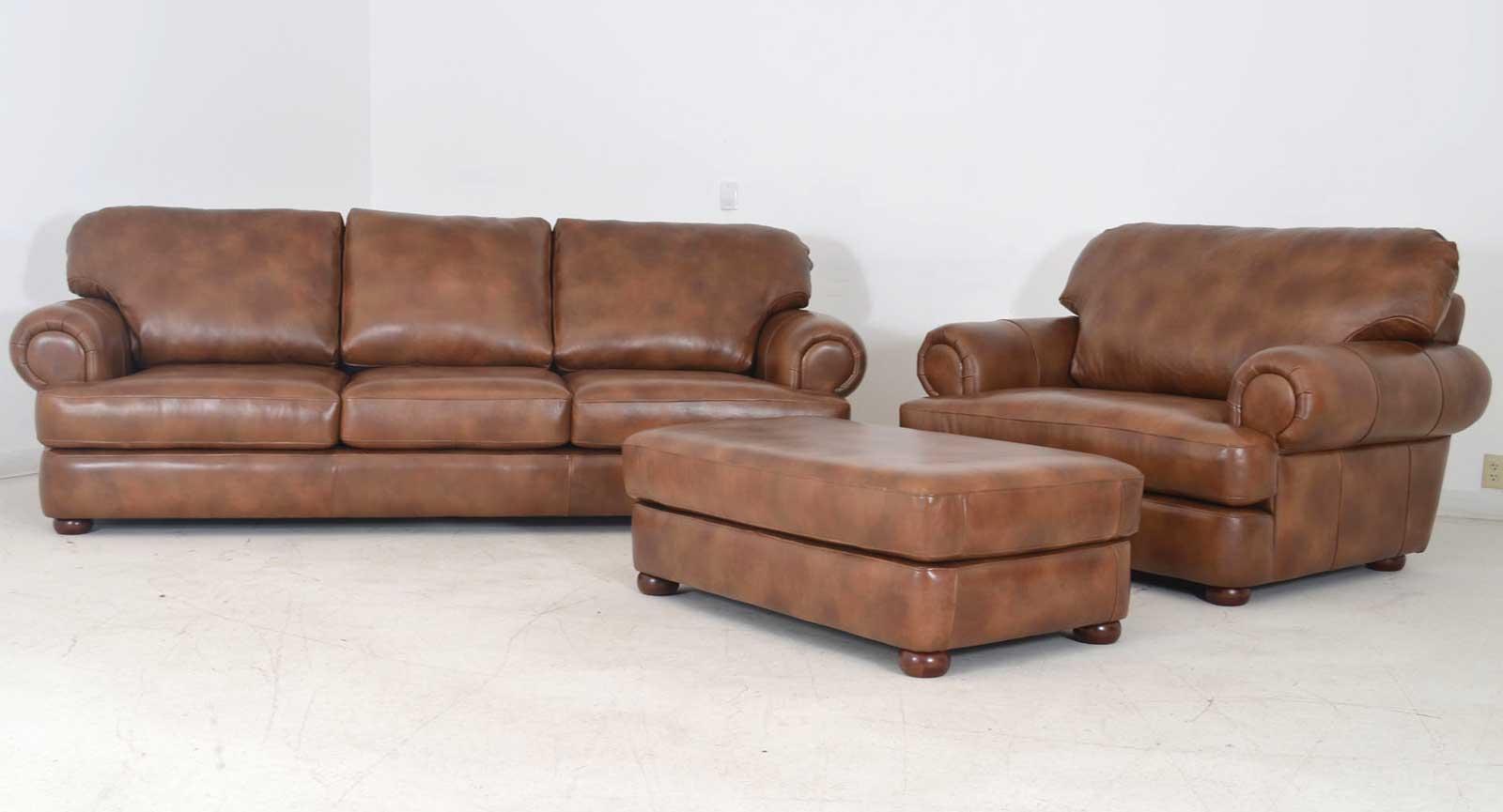 Charmant Three Seat Sofa Chair And Half Ottoman B