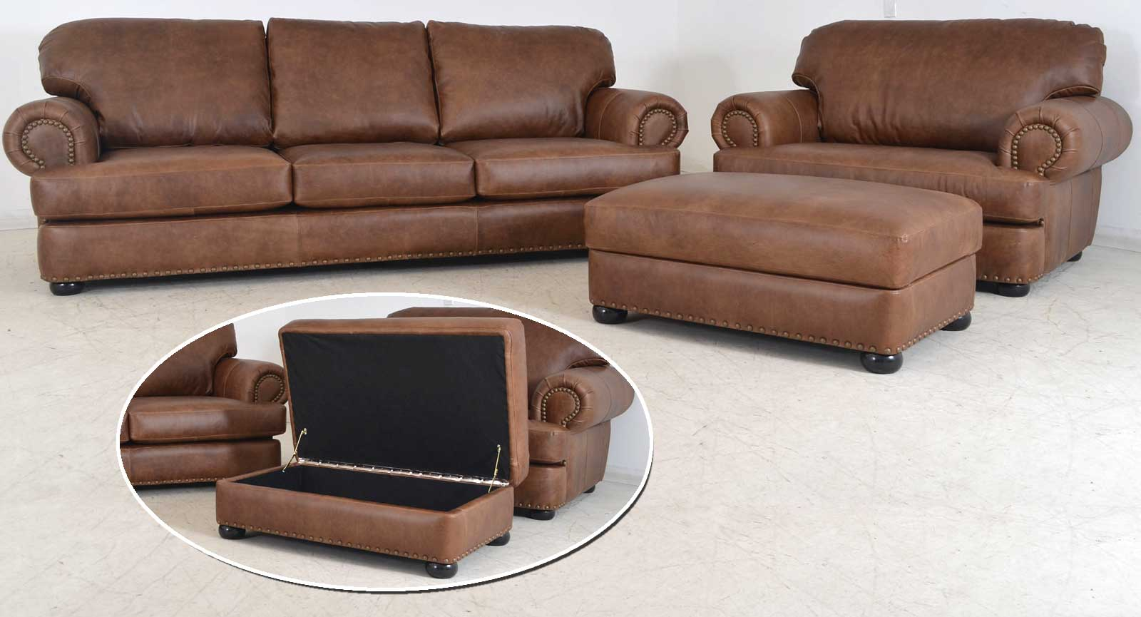 Three Seat Sofa Chair And Half Ottoman Open