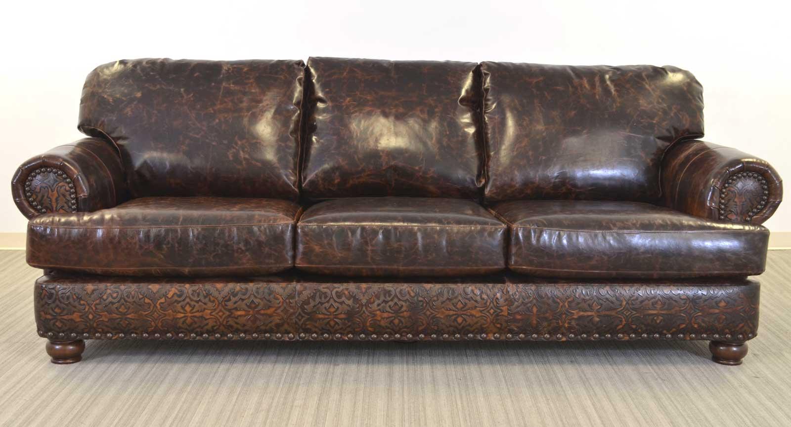 Three Seat Sofa Embossed Leather