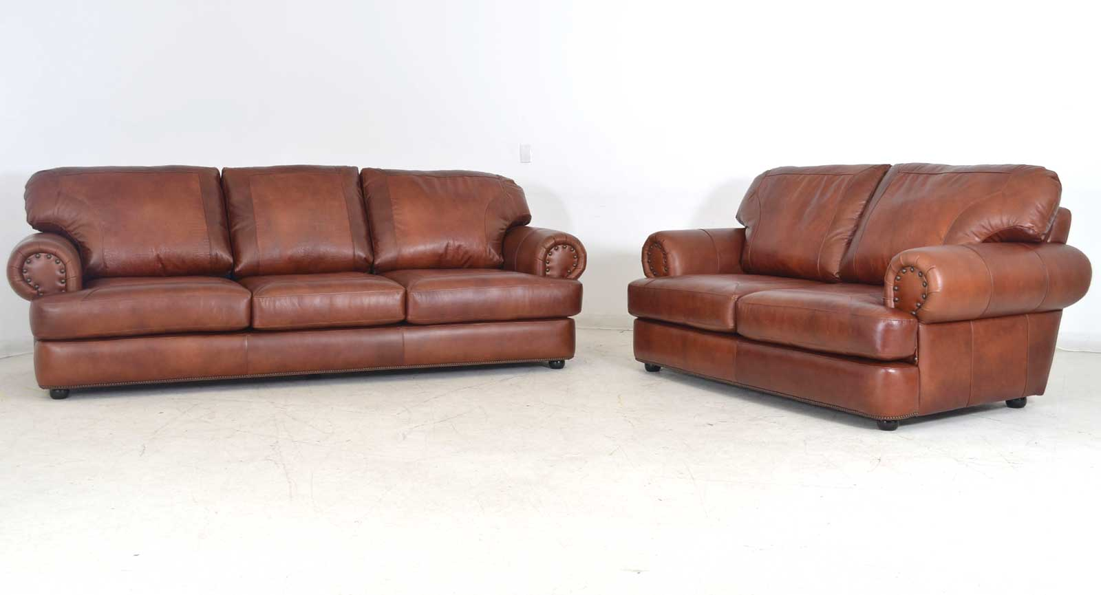 Three Seat Sofa Loveseat Two Leathers