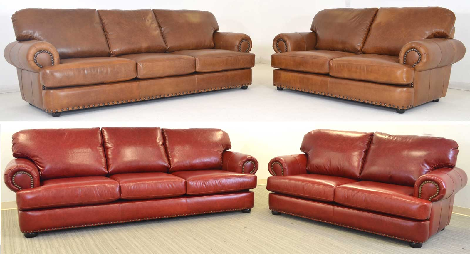Two Three Seat Sofas And Loveseats